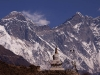 Everest and Lhotse with a stupa on the trail to Namche