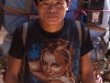 """Real men wear Brittney"" Porter sports a Brittney Spears T-shirt, Khumbu"