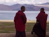 Monks on the roof of the Gompa, Korzok