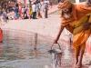 Sadhu gathering water from the Ganga, Kumbh Mela, Haridwar