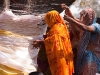 Women wrapping string around a tree for blessing, Kumbh Mela, Haridwar