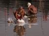 Sadhus washing clothes, Kumbh Mela, Haridwar
