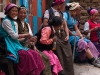 Women of Langtang resting on their way down to retrieve articles for a new gompa