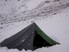 My tent after an afternoon and night of snow near the Pin-Parvati Pass