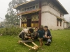 Making a crude toy cart in front of Dubdi Gompa (Monastery), established in 1701, Yuksom.