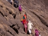 Pilgrims walking to a temple near the spring source of the Godavari River