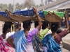 Assembly line of women carrying fish from the boats to waiting trucks, Malpe Harbor.