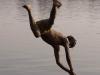Diving in the river, Maheshwar