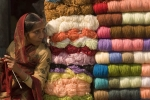 Colorful yarn vendor, Varanasi.