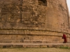 Near Varanasi is Sarnath where the Buddha preached his first sermon, the site is marked by this more than 2000 year old stupa, circumambulated here by a Tibetan monk.
