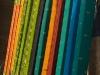 Spools of colorful cloth for saris in Varanasi.