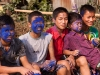 Kids with dyed faces for Yaoshang